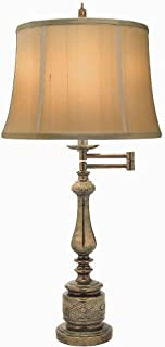 product image for Stiffel SWTL-K4029-K3098-ATS One Light Swing Arm Table Lamp, Amber Tortoise Shell Finish with Tan Silk Shantung Shade