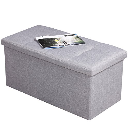 EPCTEK Storage Ottoma Linen Folding Stool,Storage Cube Basket Bins Organizer Containers, Coffee Table Cube, Camping Fishing Stool, Quick and Easy Assembly, Perfect for Child,30''x15''x15'' Cube.(Grey) by EPCTEK