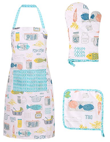 Cotton Kitchen Apron Glove and Potholder Set