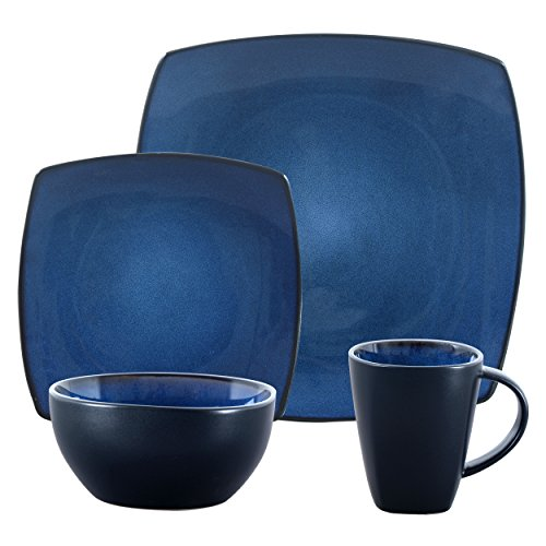 Gibson Overseas, Inc. Gibson Elite 98770.16RM Bella Soho 16-Piece Square Reactive Glaze Dinnerware Set Service of 4, Stoneware, Blue