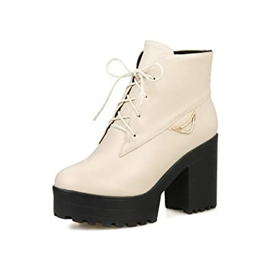 Women's Solid High-Heels Closed Round Toe PU Lace-Up Boots