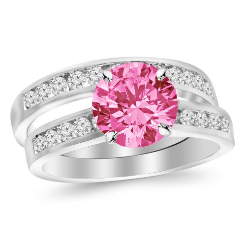 - 14K White Gold Classic Channel Set Wedding Set Bridal Band & Diamond Engagement Ring with a 0.5 Carat Pink Sapphire Heirloom Quality Center
