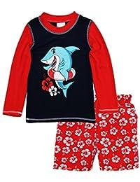 Sweet & Soft Baby Boys Shark Long Sleeve Rash Guard Hibiscus Swim Trunk 2Pc Set, Red, 24 Months