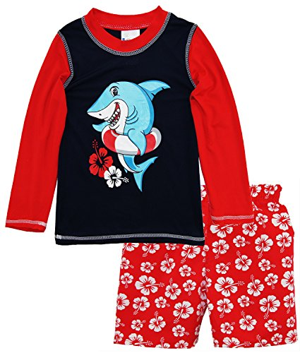 Sweet & Soft Little Boys Shark Long Sleeve Rash Guard Hibiscus Swim Trunk Set, Red, 3T by Sweet & Soft