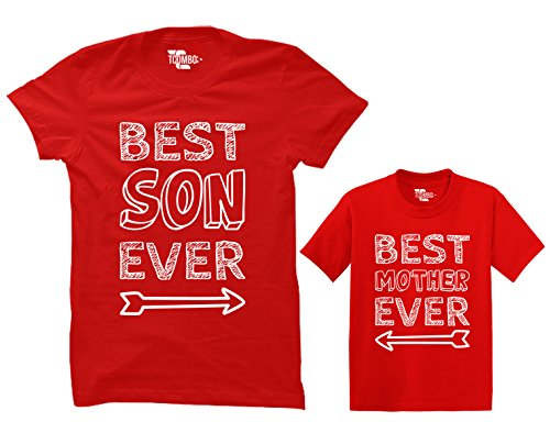 Best Son Ever/Best Mother Ever Matching Toddler & Women's T-Shirt (Red/Red, X-Large/2T)