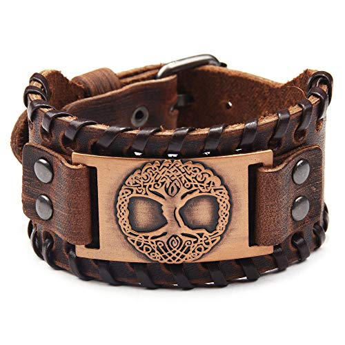 Juland Punk Braided Rope Alloy Bracelet Bangle Wristband Genuine Leather Bracelet Mens Leather Cuff Bracelet Tree of Life Wristbands Wide Cuff Leather Wrap Adjustable - Red Copper & Brown