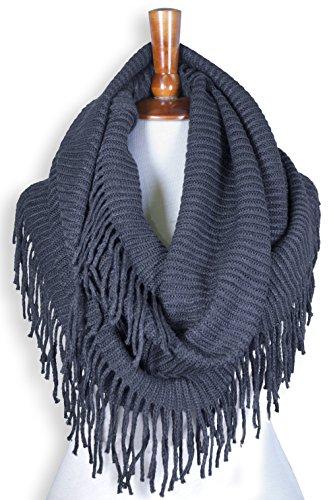 Basico Women Winter Warm Knit Infinity Scarf Tassels Soft Shawl Various Colors (G70 Indigo - Indigo Colour Picture