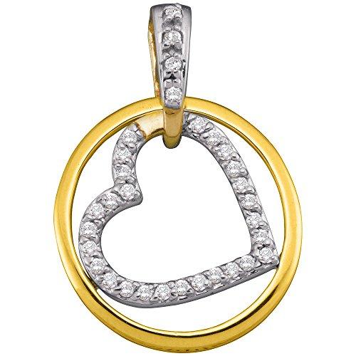 10k Gold Circle Heart Pendant - Roy Rose Jewelry 10K Yellow Gold Ladies Diamond Circle Nested Heart Pendant 1/5 Carat tw