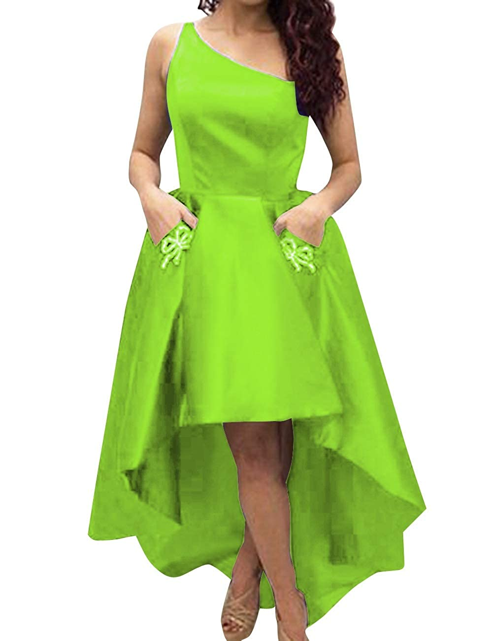 Lime Green MorySong Women's One Shoulder High Low Sain Prom Cocktail Dress with Pockets