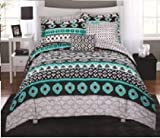 Update Dorm Room,Apartment or Bedroom With Soft and Stylish Mainstays Aztec Scarf Bed in a Bag Coordinating Bedding Set,Bold Dark Colors Accented with Bright Teal and Aqua Details,Black,Twin/Twin XL
