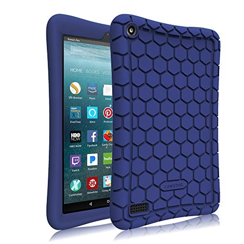 Fintie Silicone Case for All-New Amazon Fire 7 Tablet (7th Generation, 2017 Release) - [Honey Comb Upgraded Version] [Kids Friendly] Light Weight [Anti Slip] Shock Proof Protective Cover, Navy Blue