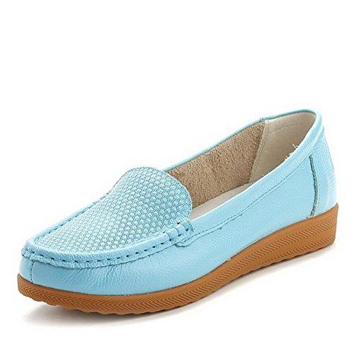 AllhqFashion Damen Rein Blend-Materialien Niedriger Absatz Ziehen auf Rund Zehe Pumps Schuhe Blau