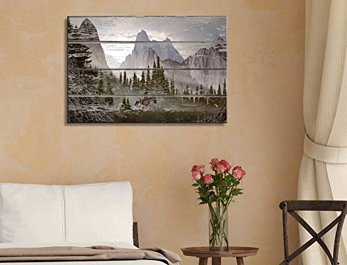 Rustic Mountain Scenery on a Wooden Background