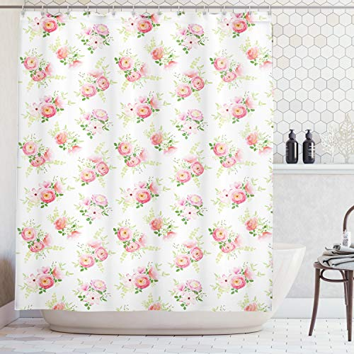 Ambesonne Shabby Chic Shower Curtain, Nostalgic Elegance Themed Bunch of Magnolia Buds Rococo Poetic Fresh Nature Art, Fabric Bathroom Decor Set with Hooks, 84 Inches Extra Long, Pink Green