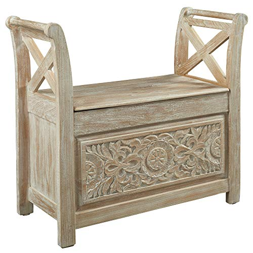 Signature Design by Ashley A4000001 Fossil Ridge Accent Bench Whitewash