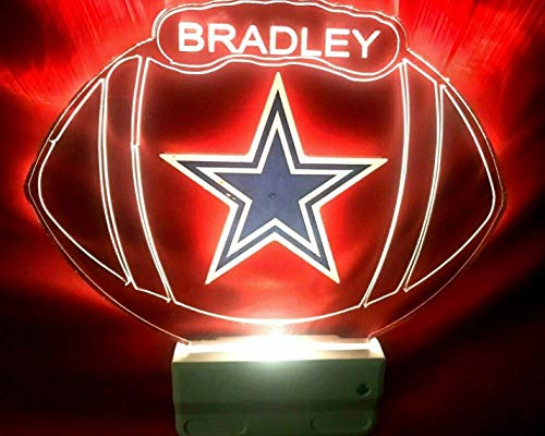 Dallas Cowboys NFL Football Night Light Multi Color Personalized LED Plug-in, Ultra-Slim -