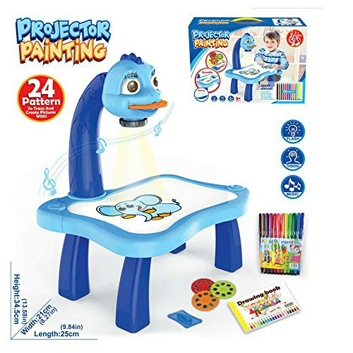 Faraone4w Desk Projector Kids Drawing Board Projector Painting Set Childrens Table Top Projector Drawing Set, Early Education Toys Craft Gift for Kids Childrens