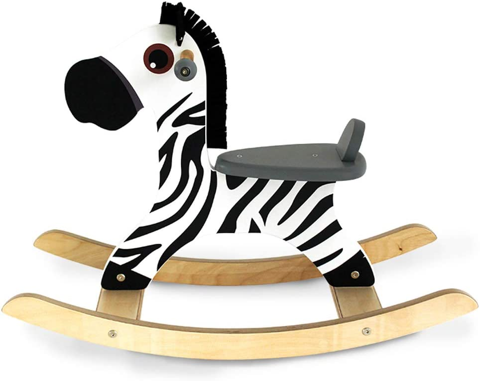 LINGZHIGAN Caballito de Madera para niños - Baby Early Education Toy Gift Cajonera de Madera para niños, Happy Childhood (Color : Zebra)