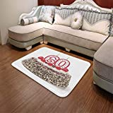 TecBillion Polyester Carpet,60th Birthday Decorations,for Meeting Room Dining Room,55.12'' x78.74'',Happy Party Cake with Candles Cherries