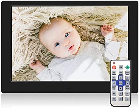 TENSWALL Digital Photo Frame, 10.1 inch Digital Picture Frame with Background Music, 1080P Video HD 1280×800 16 10 IPS Screen, Support 32GB USB Drives SD Card, Remote Control -Black