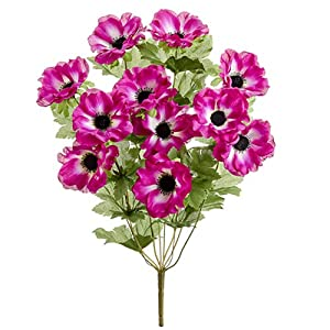 "19"" Silk Anemone Flower Bush -Orchid (Pack of 12) 23"