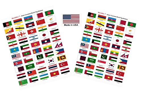 - Made in USA! 100 Stickers Representing Asian Countries; 1.5