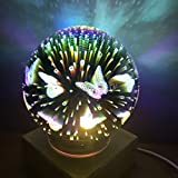 3D Fireworks Night Light, Tmore Glass Lamp Magical Crystal Ball USB Power Starry Decorative Lamp Colorful Sphere Table Light (Butterfly)