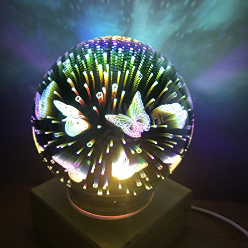 3D Fireworks Night Light, Tmore Glass Lamp Magical Crystal Ball USB Power Starry Decorative Lamp Colorful Sphere Table Light (Butterfly) by Tmore (Image #9)