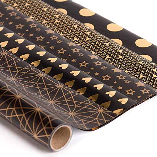 RUSPEPA Gift Wrapping Paper Roll-Black and Gold Foil Pattern for Wedding,Birthdays, Valentines, Christmas-5 Sheets - 17.5 X27.5 Inch Per Sheet