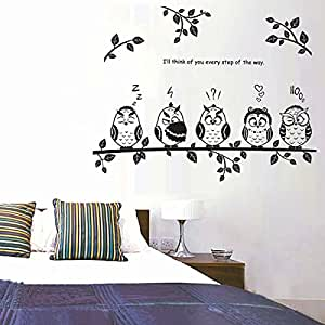 Cartoon branch owl wall sticks children room sitting room TV sofa background the head of a bed decorates a wall sticker