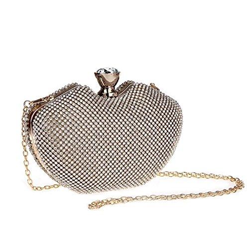Incrustaciones de Diamante de cristal deslumbrante embrague de noche bolso bolso de fiesta nupcial dorado