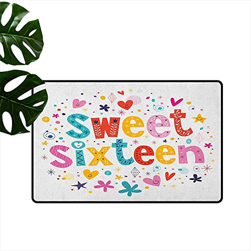 LilyDecorH 16th Birthday,Rubber Door mat Hand Drawn Style Cute and Sweet Sixteen Blossoms Petals Stars Heart Pattern 31
