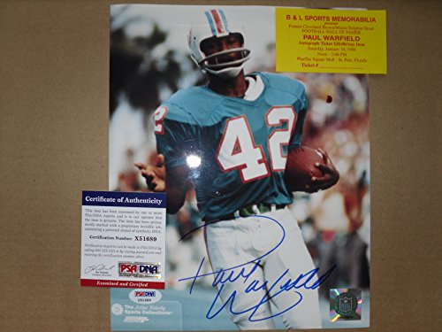 Paul Warfield Autographed Hand Signed 8x10 Photo 1972 Miami Dolphins, PSA DNA Authenticated COA (1972 Miami Dolphins 8x10 Photo)