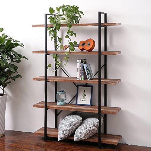 SUPERJARE 5-Shelf Industrial Bookshelf, Open Etagere Bookcase with Metal Frame, Rustic Book Shelf, Storage Display Shelves, Vintage Wood Grain - Dark Oak (Solid Bookshelf Oak)