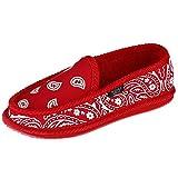 Trooper America Bandana Print Slip On Slipper House Shoe, Mens 9/Womens 11, Red