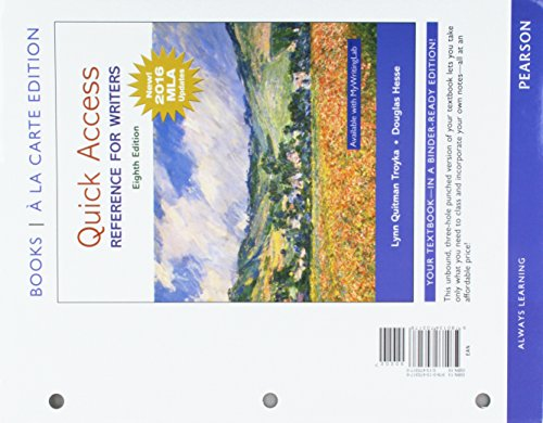 Quick Access: Reference for WritersReference for Writers, MLA Update, Books a la Carte Edition (8th Edition)