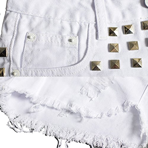 Calidad Distressed Laixing Square Studded Shorts Denim Sl009 Summer White Ripped Buena Fashion Womens Oqx4Fw5