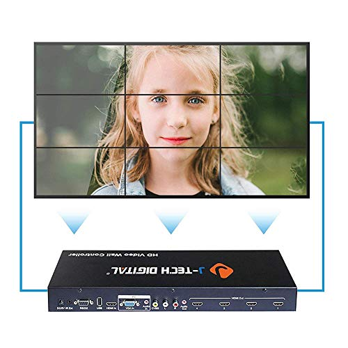 (J-Tech Digital ProAV Multi-Channel HDMI VGA AV USB Video Processor 1x4 2x2 (with Cascading Function Supports 3x3 4x4 ··· 10x10) Video Wall Controller with Control4 Driver Available)