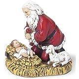 Joseph Studio Kneeling Santa with Baby Jesus Christmas Figurine