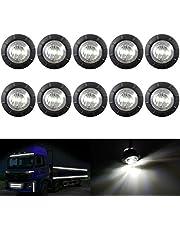 "KaTur 3/4"" Round LED Front Rear Side Marker Indicators Light Waterproof Bullet Clearance Marker Light 12V for Car Truck (White)"