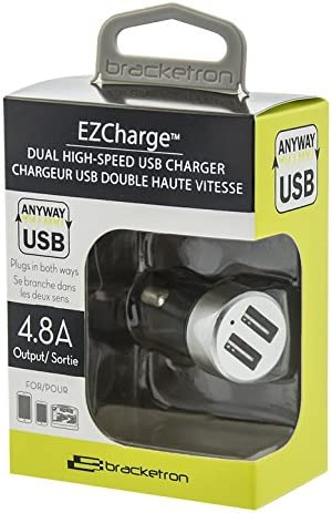 Bracketron EZCharge Dual Pro USB Car Charger 4.8A Silver