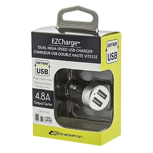 Bracketron EZCharge Dual Pro USB Car Charger, 4.8A, Silver