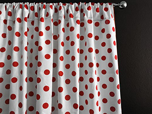 - Zen Creative Designs Polka Dots on White Cotton Curtain Panel Perfect for Bed Room Window, Children's Room Window, Living Room Window Decor (Red Dots, 84
