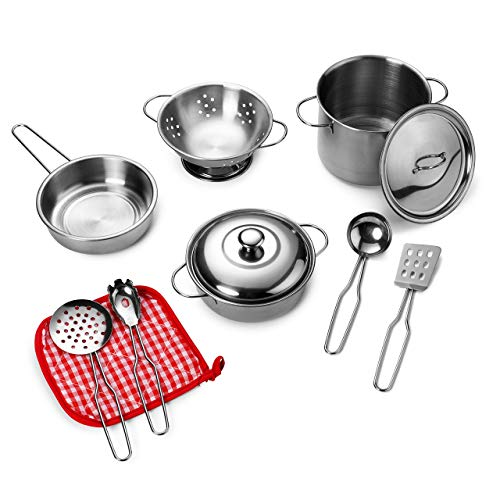 Playkidz: Super Durable 11 Piece Stainless Steel Pots and Pans Cookware Playset for kids Pretend Play ()