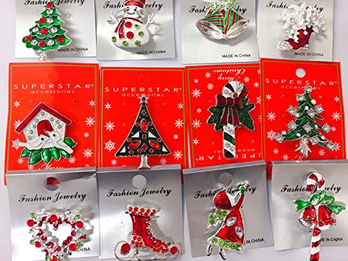 Set of 12 Vintage Christmas Brooch Lot/ Holiday Brooch / Christmas Tree/ Snowman/ Xmas Pin Lot / Party Favor/ Rhinestone Christmas