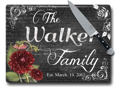 MuralMax Glass Cutting Board - Unique Housewarming Kitchen Décor - Personalized Wedding Gifts - Chalkboard Design, 15 x 11 Inches, Charcoal (11x15 Butcher Tray compare prices)