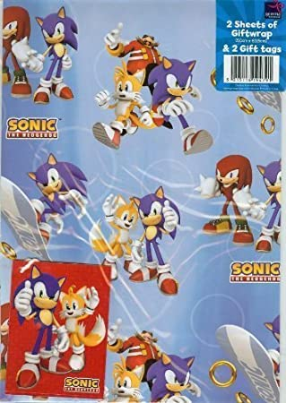 Sonic The Hedgehog Gift Wrap With Gift Tags Amazon Co Uk Toys Games