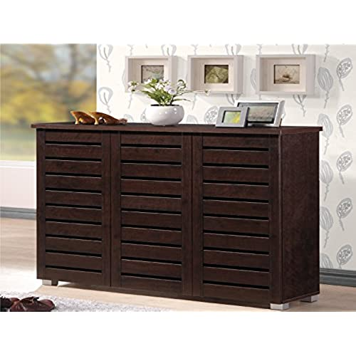 Wholesale Interiors Baxton Studio Adalwin Modern And Contemporary 3 Door  Dark Brown Wooden Entryway Shoes Storage Cabinet
