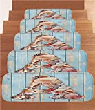 iPrint Non-Slip Carpets Stair Treads,Letter A,Letter A with Seashells on Pale Wooden Board Invertebrates Animal Decorative,Pale Blue Ivory Dark Coral,(Set of 5) 8.6''x27.5''