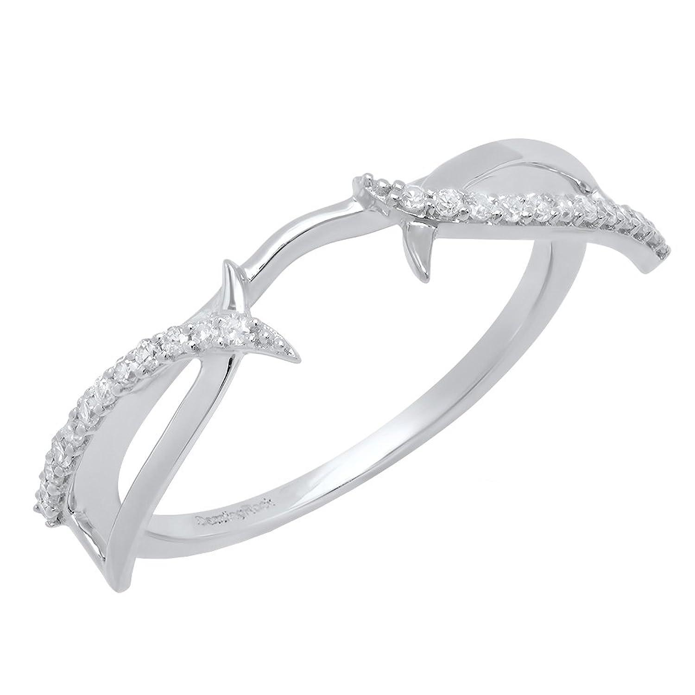 0.15 Carat (Ctw) 14K Gold Round Diamond Ladies Anniversary Wedding Band Enhancer Guard Ring